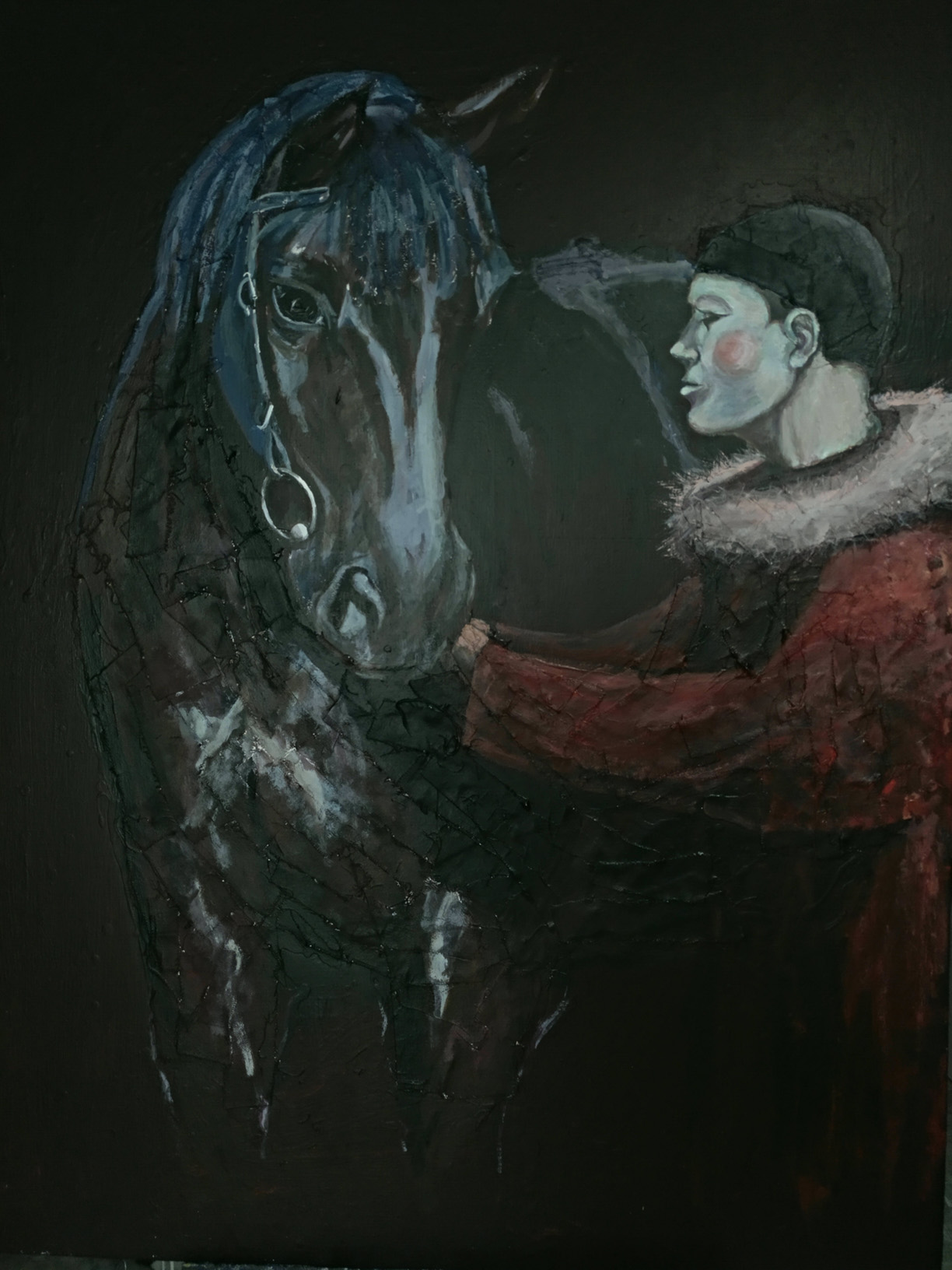 Horse with red harlequin