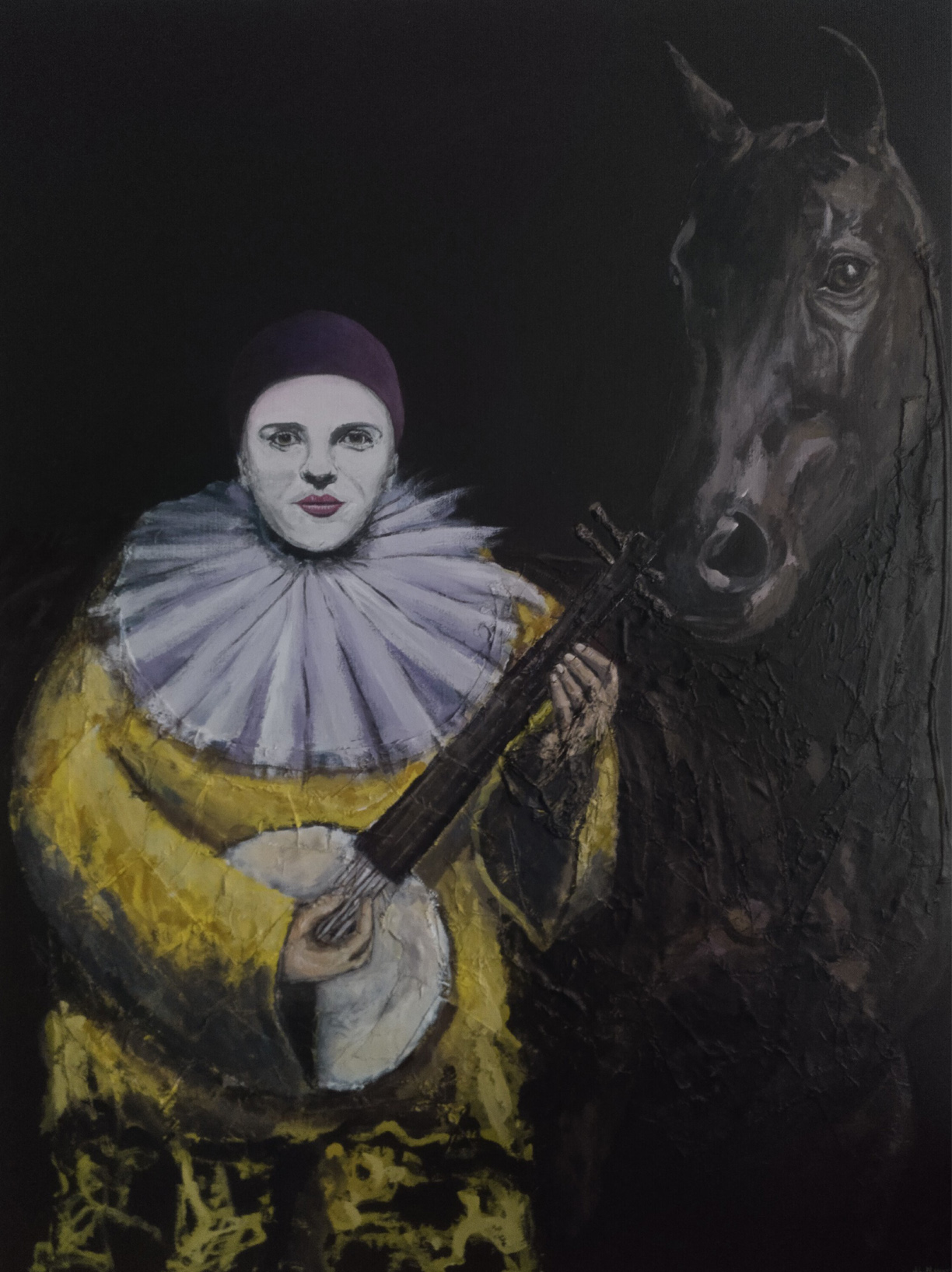 Yellow harlequin with horse