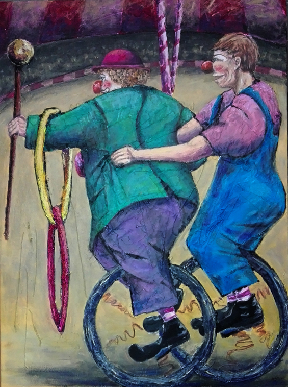 Two clowns in unicycle