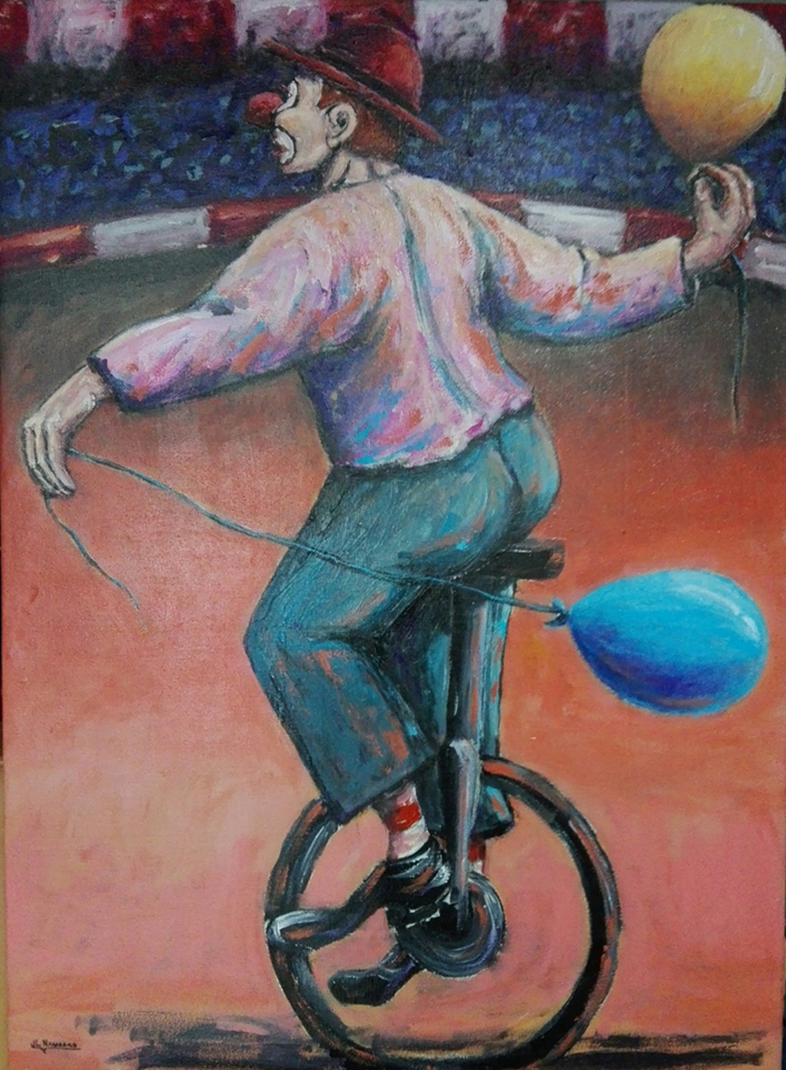 Clown in unicycle