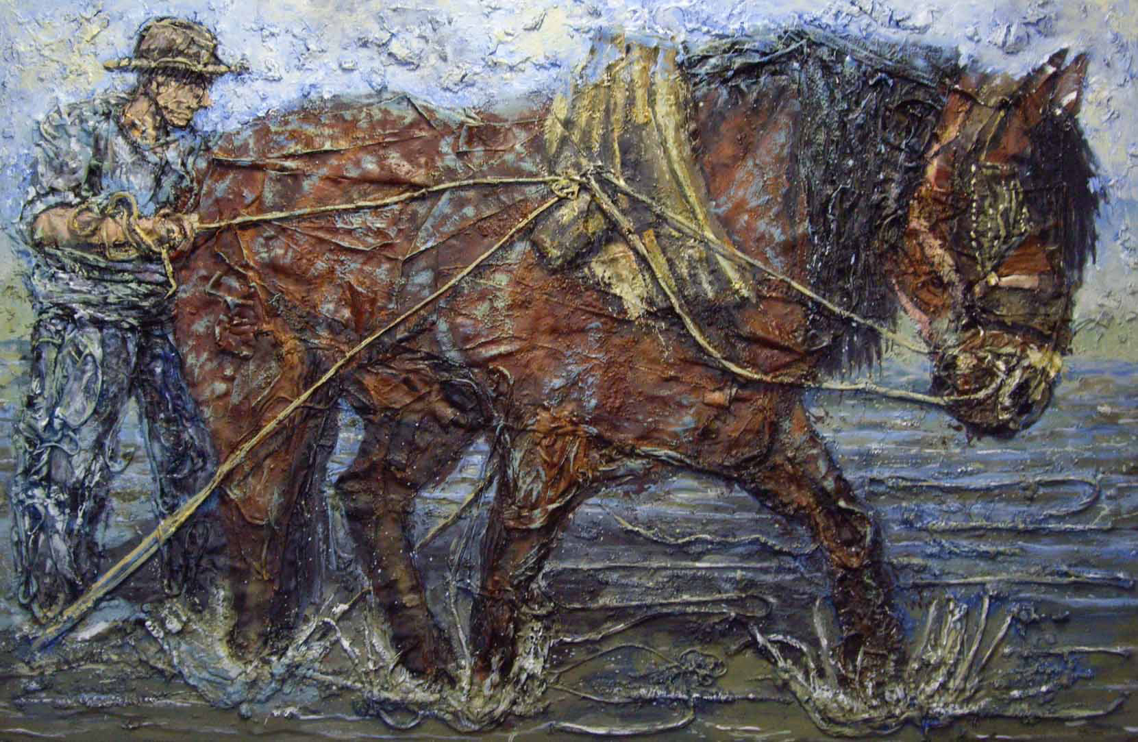 Man and horse, plowing the sea